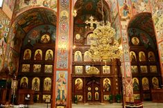 Iconostasis (alter screen) in the New Gracanica Serbian Orthodox monastery church in Grayslake , Illinois