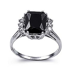 Rhodium Plated Sterling Silver Wedding & Engagement Ring Black, Clear CZ Ladies Ring 11MM ( Size 5 to 8) Size 5 Double Accent. $26.99. Prompt Shpping. 925 Sterling Silver. Nickel Free. Hypoallergenic. Comes with Beautiful Jewelry Case