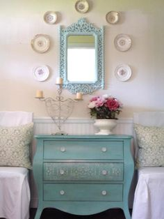 Revive an old piece of furniture with a fresh coat of paint. Try a look-at-me shade, like turquoise, citrus yellow, lacquer red or apple green to draw attention to a vintage piece's lines. Design by Rate My Space user fleamarkettrixie