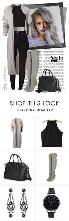 """""""Black and grey edgy casual chic fall outfit"""" by cherrysnoww ❤ liked on Polyvore featuring NLY Trend, Givenchy, Olivia Burton, M.N.G, contest, Sheinside and contestentry"""