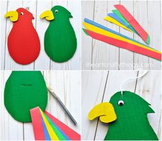 Colorful and Fun Twirling Parrot Craft | I Heart Crafty Things