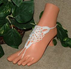 Crochet, White, Wedding, Barefoot Sandals, Beach, Jewelry, Anklet, Foot, Chain