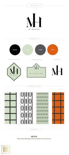 Branding Design for M. House  |  Charcoal, Orange, Mint - Custom Patterns and Monogram by Emily McCarthy #branding #monogram #graphicdesign