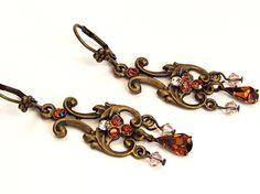 $28  Romantic earrings to sweep you away into the Victorian old world era. Stunning historical style earrings!