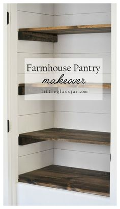 diy home decor Create a beautiful farmhouse pantry makeover by adding DIY shiplap and stained wood shelves. This custom look can make any pantry stunning and functional. Pantry Makeover, Shelf Makeover, Paneling Makeover, Door Makeover, Organizing Ideas, Home Organization, Food Pantry Organizing, Bathroom Closet Organization, Kitchen Pantry