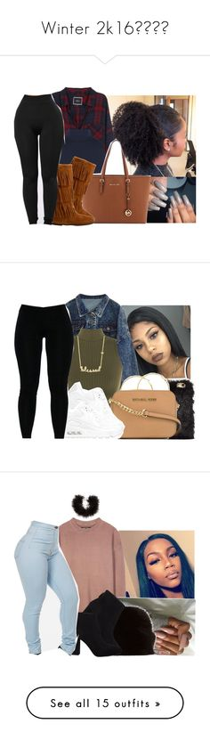 """""""Winter 2k16❄️✨"""" by eazybreezy305 ❤ liked on Polyvore featuring Rails, WearAll, MICHAEL Michael Kors, Minnetonka, Winter, 2016, winterstyle, NOVA, Melissa Odabash and NIKE"""