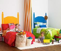 Having a hard time finding the perfect headboard for your child's bedroom? Give the illusion of your dream design by painting whatever shape you want on the wall behind the bed.