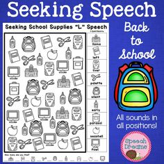 Back to School Speech Therapy Seeking Activity {articulation} Articulation Therapy, Speech Therapy Activities, Speech Language Therapy, Speech And Language, School Fun, Back To School, Phonological Processes, Special Needs Students, Different Words
