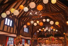 Creative & professional UK-based services for stylish private & corporate events. Hanging Lanterns, Paper Lanterns, Hanging Lights, Great Fosters, Surrey, Corporate Events, Spring Wedding, Event Design, Beams