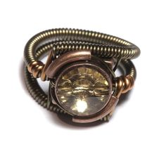 Steampunk copper and topaz ring