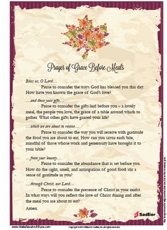 Extended Prayer of Grace Before Meals (Perfect for Thanksgiving)
