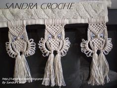 SANDRA CROCHE Macrame Projects, Macrame Patterns, Burlap Wreath, Diy And Crafts, Patches, Crochet, Accessories, String Art, Embroidered Towels