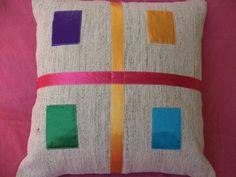 """THROW PİLLOW. Modern Bohemian Kilim Pillow,18""""x18"""" inch,Kid Room Decor Pillow,Handwoven White Kilim Patcwork Pillow Textile & Kilim Pillow"""