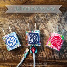 Custom Lilly Pulitzer-inspired monogram sticker for your iPhone, iPad, or iPod charger and lightning cord. Cute!
