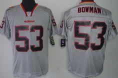 Nike San Francisco 49ers #53 Navorro Bowman Lights Out Gray Elite Jersey