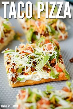 """Taco Pizza Taco Pizza is an easy family dinner (you can even make it the night before) or a tasty appetizer. Kids love this recipe and the cream cheese/sour cream """"sauce"""" and spicy taco flavor are a hit with adults too. Pizza Taco, Taco Pizza Recipes, Mexican Food Recipes, Pillsbury Pizza Crust Recipes, Pizza Subs, Club Sandwich Recipes, Pizza Food, Chicken Pizza, Appetizer Recipes"""