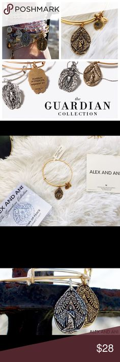 """Alex and Ani Guardian of Peace Charm Bangle Beautiful minimalistic bracelet from Alex and Ani. Guardian charm brings forth calmness and peace. When you wear this charm, invoke the Guardian of Peace: comfort me. Crafted in RAFAELIAN GOLD and RAFAELIAN SILVER Finishes. New with tag and card. Expandable from 2"""" to 3.5in. Charm Dimension: 1.03"""" x 0.85"""" Alex & Ani Jewelry Bracelets"""