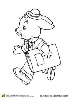 Dessin à colorier du petit lapin avec son cahier