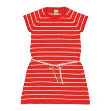 Rood-ecru gestreept kleedje