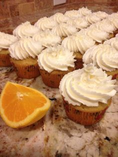 White Chocolate Almond Buttercream with Tazo Wild Sweet Orange tea infused cake --just steep 4 tea bags in 1 cup water used in boxed yellow cake mix, add 1 tsp Lorann Orange emulsion & the grated zest of 1 orange to the box recipe.