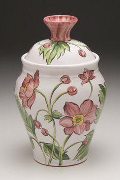Earthenware Pottery Lidded Jar. Majolica by GwenFryarPottery, $55.00