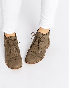 Image 1 ofASOS ABERY Brogue Lace Up Leather Ankle Boots