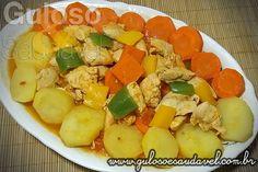 Receita de Frango Cozido com Legumes