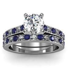 Pavé Blue Sapphire & Diamond Cathedral Engagement Ring with Band set in 18k White Gold