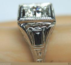 Antique European Diamond Engagement Ring Solitaire 18k Art Deco Vintage Estate