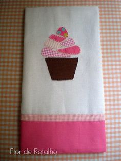 Easy Applique on a Tea Towel with matching fabric hem.