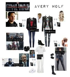 """""""Avery Wolf in """"Captain America:Civil War"""""""" by c-a-marie2000 ❤ liked on Polyvore featuring Paul Frank, Marc by Marc Jacobs, Asics, WonderWink, H&M, WithChic, Rip Curl, Chicnova Fashion, Stuart Weitzman and River Island"""