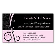Remind new customers and existing clients of their upcoming hair salon appointment with these elegant, soft pink and black leopard print hair and beauty salon business cards, embellished with a glamorous floral swirl filigree. Personalize these chic and stylish animal print appointment reminders by adding the name of the certified beautician. #sold
