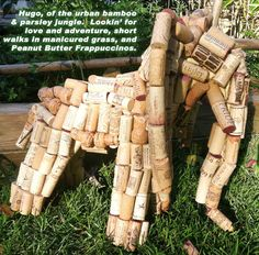 Elephant upcycled wine cork animal statue decor by DLightFullDecor, $210.00