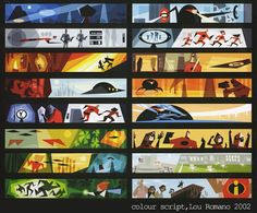 The incredibles - this is an example of graphic sequence as it shows what's occurring in the pixar movie the Incredibles. This image acts as a simplified story board which shows the way in which the film is playing out