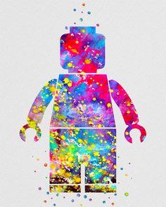 Lego Man 2 Watercolor Art