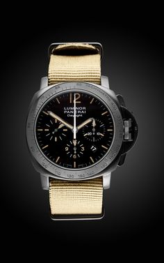 Officine Panerai Desert Storm Stealth DLC Edition, pinned specifically because of the design of the tachymeter bezel.