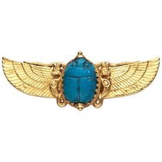 Jule Wiese Antique Egyptian Revival Gold Scarab Brooch | From a unique collection of vintage brooches at https://www.1stdibs.com/jewelry/brooches/brooches/