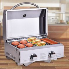 Outdoors 2 Burner Portable Stainless Steel BBQ Table Top Grill x x Table Top Grill, Grill Table, Grill Party, Bbq Grill, Barbecue Original, Stainless Steel Table Top, Bbq Plates, Portable Bbq, Propane Gas Grill