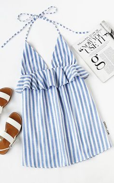 Halter Neck Vertical Striped Frill Trim Dress