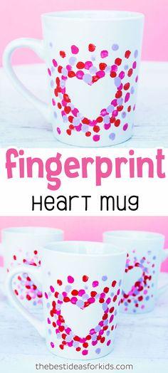 Fingerprint Heart Mug Craft for Kids - Kids Crafts - Kids Crafts, Mug Crafts, Mothers Day Crafts For Kids, Valentine Crafts For Kids, Valentines Day Activities, Diy Projects For Kids, Crafts For Girls, Baby Crafts, Gifts For Kids