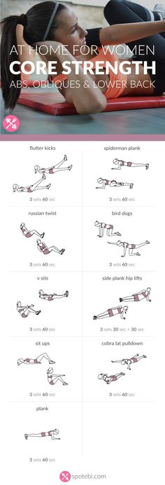 Challenge your abs, obliques and lower back with these core strengthening exercises. A thorough core workout routine designed to transform your midsection.