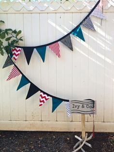 Thing 1 Thing 2 Dr. Suess bunting with stripes by IvyandCompany, $45.00
