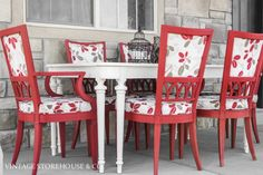 Red & White Dining Set {Before & After}
