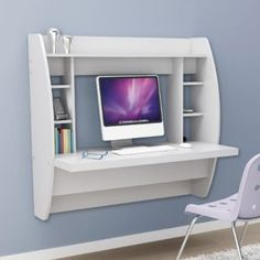 White Floating Desk with Storage.