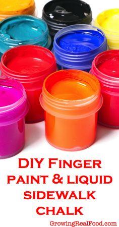 DIY Finger Paint and Liquid Sidewalk Chalk | GrowingRealFood.com