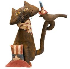 Primitive E Pattern  Americana Folk Art Cat On The hat by Skunkhollow, $8.00