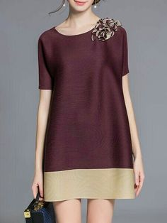 Burgundy Short Sleeve Crew Neck A-line Polyester Tunic Simple Dresses, Casual Dresses, Fashion Dresses, Short Sleeve Dresses, Summer Dresses, Mini Dresses, Fashion Clothes, Mode Inspiration, Chic Outfits