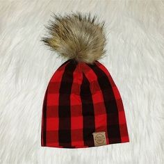 ea897ba105caea Red Buffalo Plaid Pom Beanie Mud Pie Clothing, Baby Girl Hats, Girl With Hat