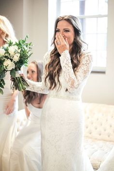 Illusion Lace Long Sleeve Wedding Dress | Moonlight Bridal Real Bride