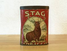 Stag Tobacco Oval Pocket Tin / Stag Pipe by RedRavenCollectibles